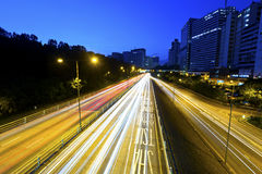 Highway light trails royalty free stock images