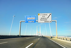 Highway, Lisbon, Portugal. Highway to Lisbon as seen from car window. Portugal Stock Photography