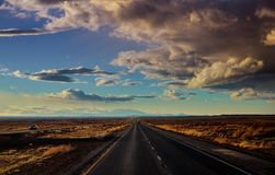 Highway lone road through the scenic view canyon in New Mexico stock image