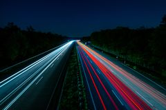 Highway in long exposure stock photography