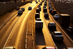 Highway with lots of cars Royalty Free Stock Images