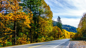 Highway 7, the Lougheed Highway near the settlement of Deroche in Fall Colors in the Fraser Valley Royalty Free Stock Photo