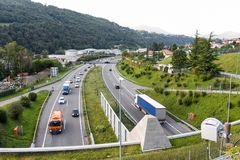 The highway at Lugano on the italian part of Switzerland royalty free stock photography