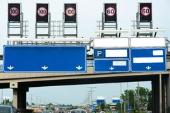 Highway with many signs Stock Image