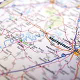 Highway map around Montgomery Alabama Stock Photo