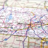 Highway Map of Massachusetts USA. Closeup of road map of Massachusetts with cities Worcester, Marlborough and surrounding towns stock images