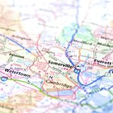 Highway Map of Massachusetts USA. Road map of Massachusetts with highways to Watertown, Somerville and Cambridge. Harvard University Stock Photo