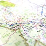 Highway Map Missoula Montana. Closeup of Montana highway map around Missoula Stock Photos