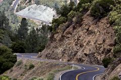 Highway 49 Mariposa California. Winding road dangerous Stock Photos