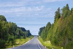 Highway with markings on the sky background.  Royalty Free Stock Images
