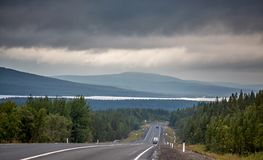 Highway with markings on the sky background.  Stock Photography