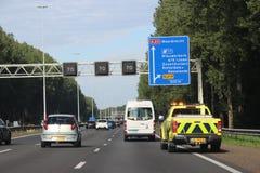 Highway marshall of Rijkswaterstaat at motorway A20 at Nieuwerkerk aan den ijssel in the Netherlands. royalty free stock image