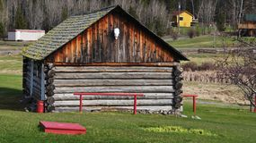 108 Mile House British Columbia, Canada. Highway 97 108 Mile House and Ranch Museum Log Building in British Columbia, Canada Photograph taken in April 2017 stock photo