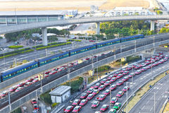 Highway in modern city with moving train Stock Photo