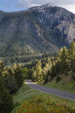 Highway in Montana going through the mountains. Scenic highway traveling through the mountains in southern Montana. Flowers along the road Royalty Free Stock Photos
