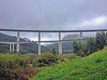 Highway monumental bridge in Asturias Camino del Norte, the Northern Way of Saint James in Spain stock photography