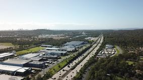 Highway morning traffic - drone shot 60 meters high stock footage
