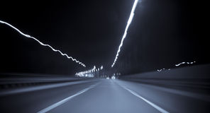 Highway in motion blur. At night Stock Photo