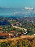 Highway or Motorway bridge curve sicilian landscape. Highway or Motorway bridge curve sicilian italy landscape Stock Photos