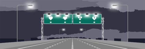 Highway or motorway and green signage with heart symbol valentine concept design royalty free illustration