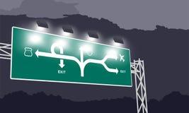 Highway or motorway green signage at nighttime royalty free illustration
