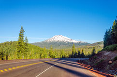 Highway and Mount Bachelor Royalty Free Stock Photography