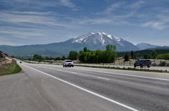 Highway and mountain in the background. Highway 82 and Mount Sopris in western Colorado in the United States royalty free stock photos