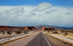 Highway on the mountain of New Mexico. Highway on the snowy mountain road of New Mexico stock photo