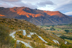 Highway Mountain range New Zealand. Aerial view of Highway Road Freeway to Arrow Town with Sunrise Mountain range Landscape New Zealand Stock Photography