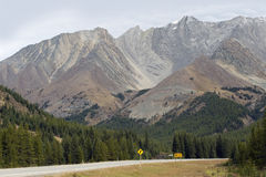 Highway in the mountains, Alberta royalty free stock image