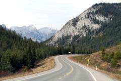 Highway in the mountains, Alberta Stock Photo
