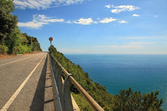 Highway in the mountains along Mediterranean Sea. Stock Photography