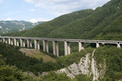 Highway in the mountains of Appennino Royalty Free Stock Image