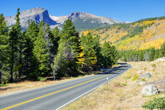 Highway in the mountains in the fall Royalty Free Stock Photography