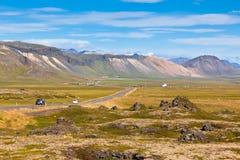 Highway through Mountains Icelandic landscape Stock Image