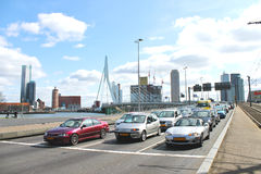 Highway near the bridge Erasmus of Rotterdam. Royalty Free Stock Photos