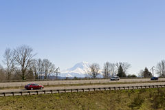 Highway near mountains Stock Image
