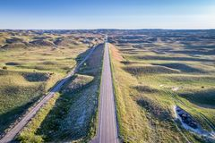 Highway in Nebraska Sandhills - aerial view Stock Photo