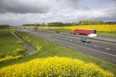 Highway A15 in The Netherlands in spring Royalty Free Stock Image
