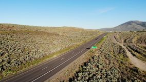 Highway 395, Nevada, USA. Aerial drone footage over Highway 395 on border of California and Nevada, USA stock video