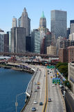 Highway in New York City. View of downtown manhattan along the fdr highway Stock Images