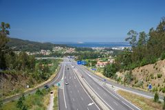 Highway next Vigo city Royalty Free Stock Photo