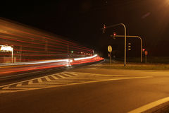 Highway at night. Long exposure of a road by night royalty free stock photo