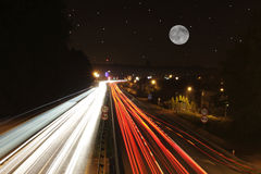 Highway at night. Long exposure of a highway by night.(Adobe RGB 1998 royalty free stock photos
