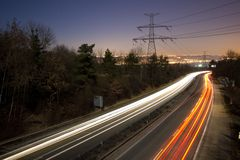 Highway in the night Royalty Free Stock Image