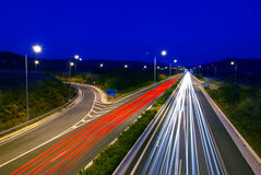 Highway at night. Long time exposure of highway traffic at dusk Stock Image