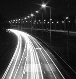 Highway at night. In black and white colors Royalty Free Stock Images