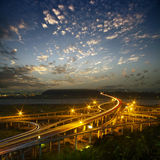 Highway in night with cars light Royalty Free Stock Photos