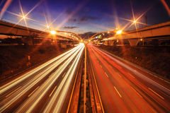 Highway in night with cars light in Taiwan royalty free stock photo