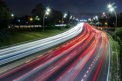 Highway night curve Stock Photo